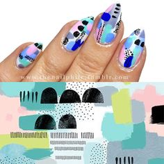 thenailphile:  [23.08.2016]  Another set for my #illustrationinspiration series;  inspired by the work of Lamai McCartan although the colours are not exactly the same!  These were so quick and simple to do but Im so annoyed I smudged the colours with the top coat!   And these are one of those designs that actually looks better in real life rather than through the iPhone camera which is a shame because I love them but not in the pics…