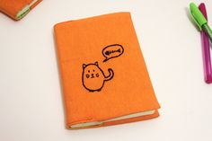 Hand embroidered fat cat notebook cover cat by CreaMorDesignParis