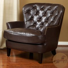 Christopher Knight Home Tafton Tufted Brown Leather Club Chair | Overstock.com Shopping - The Best Deals on Chairs