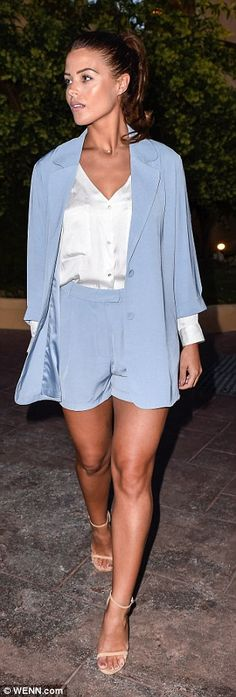 Cute co-ords: Chloe Lewis kept things sophisticated in a baby blue blazer and matching sho...