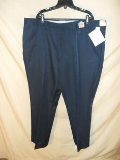 VINTAGE NEW Alexander Lloyd Men's Dress Pants Stretch Waist Polyester NAVY-48x30 #AlexanderLloyd #CasualPants
