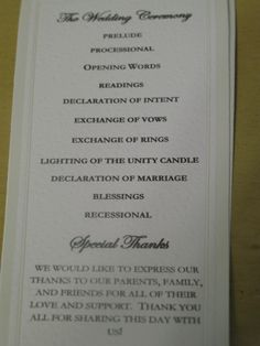 Wedding Programs-Wedding Program Wording-Program Samples-Program ...