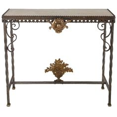 Neoclassical Bronze and Iron Console Table | From a unique collection of antique and modern console tables at https://www.1stdibs.com/furniture/tables/console-tables/