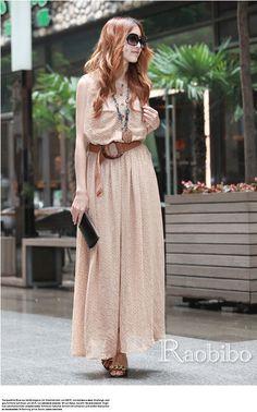 2013 Fashion Women Bohemia Dress Polka Dot Beach Dresses Plus Size Chiffon Maxi Dresses Long Sleeveless