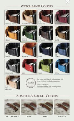 Color options for leather band . . . | TRIMleather via Etsy