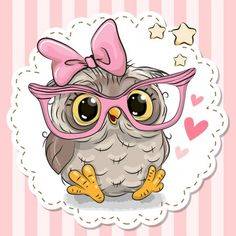 Cute owl in pink eyeglasses. Cute cartoon owl in pink eyeglasses with a bow vector illustration Bird Drawings, Animal Drawings, Cute Drawings, Cute Owl Drawing, Owl Clip Art, Owl Art, Animals Images, Cute Animals, Cute Owls Wallpaper