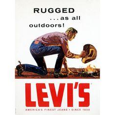 Levi's Rugged Cowboy Jeans Authentic Vintage Poster
