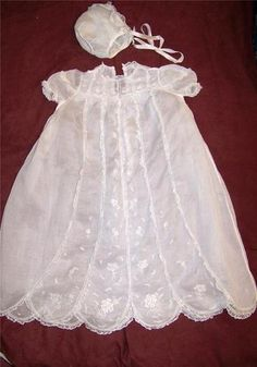 Vintage Childs Baby Infant Christening Dress Hat Embroidery Lace Made in France