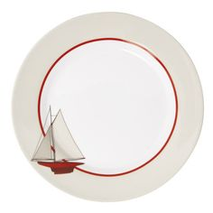 Assiette plate en porcelaine D.27cm blanc/rouge - Lot de 6 VOILIER