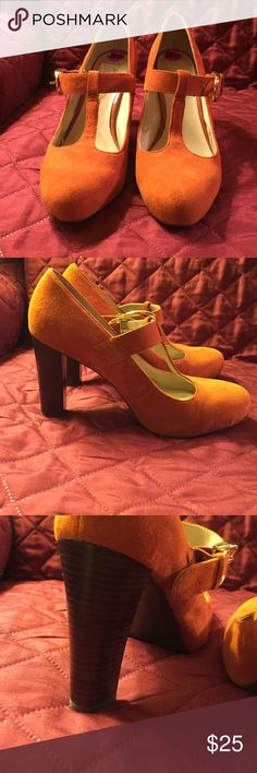 Orange T Strap Leather Suede Heel by Franco Sarto Beautiful leather suede shoe in a t Strap form with gold buckle closure. Little discoloration but not noticeable. Heel height 3 7/8. Franco Sarto Shoes Heels