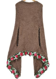 Flowers Embellished Wrapped Sweater