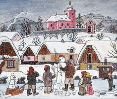 Grandma Moses, Christmas Scenes, Christmas Snowman, Naive Art, Children's Book Illustration, Art World, Illustrators, Folk Art, Czech Republic