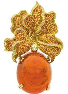 Fire Opal, Diamond, Gold Jewelry Suite The suite includes an enhancer-brooch featuring an oval-shaped fire opal - Available at 2013 December 9 Fine Jewelry. Opal Jewelry, Gold Jewelry, Jewelery, Fine Jewelry, Gold Palette, Coral And Gold, Diamond Brooch, Royal Jewels, Fantasy Jewelry