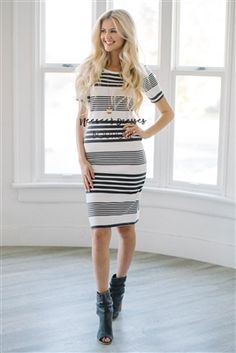 Gray White Stripe Modest Sweater Dress, Vintage Dress, Church Dresses, dresses for church, modest bridesmaids dresses, trendy modest, modest skirt, modest shirts, cute modest dresses, modest church dresses, mikarose, trendy boutique
