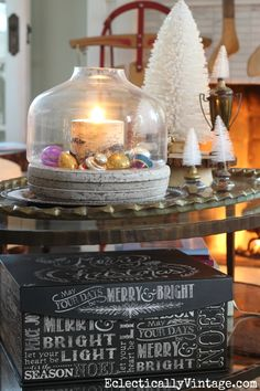 Love this Christmas coffee table and the adorable chalkboard box from HomeGoods that would make the perfect gift box! eclecticallyvintage.com HappybyDesign sponsored