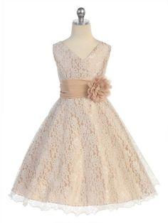 Taupe Surplice Top All Lace Flower Girl dresses with Flower Corsage on Waist (sizes 2-20)