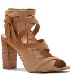 Vince Camuto Women's Sammson Block Heel Sandal In Tumbleweed Tumbled Buff Goat Black Block Heel Sandals, Lace Up Block Heel, Strappy Block Heels, Strappy Sandals Heels, Lace Up Heels, Dress And Heels, Ankle Strap Sandals, Leather Sandals, Women Sandals