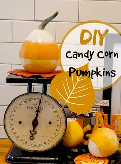 Candy corn pumpkins are simple to make with painter's tape and paint