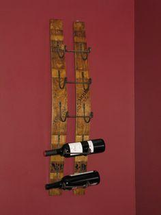 Wall wine holder made from a wine barrel Wall Wine Holder, Corks, Barn Wood, Wine Recipes, Wine Rack, Creative Design, Whiskey, Barrel, Bottles