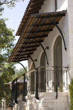 Exterior Design Element: Metal and Canvas Awnings Spanish Style Homes, Spanish House, Door Design, Exterior Design, House Design, Garden Design, Canvas Awnings, Metal Awning, Metal Roof