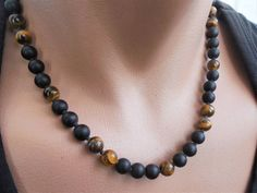 mens beaded necklace tigers eye necklace black onyx necklace matte onyx beaded necklace mens necklac Onyx Necklace, Men Necklace, Gemstone Necklace, Gemstone Beads, Mens Beaded Necklaces, Tigers Eye Necklace, Homemade Jewelry, Custom Jewelry, Black Onyx
