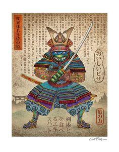 "Leonardo Samurai Turtle- 11"" x 14"" print- Japanese Styled Print for Nickelodeon Show"