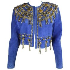 1990's Gianni Versace Beaded Blue Suede Jacket | From a collection of rare…