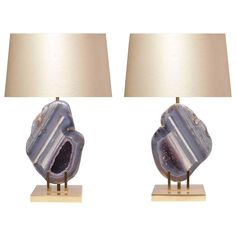 View this item and discover similar for sale at - Pair of rare natural agate table lamps with beautiful greyish blue color and amethyst inside. Geode Decor, Recycled Home Decor, Lantern Chandelier, Rustic Lighting, Lighting Ideas, Diy Crystals, Desk Lamp, Table Lamps, Antique Decor