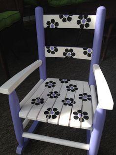 Custom Painted Children's Rocking Chair Floral by LittleCrafts01