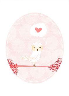 cute owl art  Little Owl Hearts You  by TheFoxandTheTeacup on Etsy, $10.00