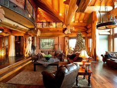 The home was custom-built by Pioneer Log Homes, which are featured on the HGTV reality show Timber Kings.
