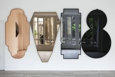 Shaped and tinted mirrors by Jose Levy from his Morocco collection| Remodelista