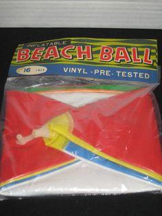 1960'S INFLATABLE VINYL BEACH BALL, 16 INCH