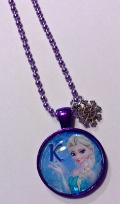 Frozen + Elsa + Initial Necklace + Personalized + Purple or Turquoise + BigTRanchSoap.etsy.com, $10.00