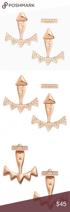 NWOT Pave Triangle Ear Jacket Rose Gold Stella&Dot This beautiful earring is interchangeable. Includes stud sets with 2 sets of studs that can be worn alone or with the pave Ear Jacket triangle. Reverse for a smooth Rose Gold Finish.   Featherweight 3/4 length with 2 sets of interchangeable studs Shiny Rose Gold Plating.  Condition: New Without Tag. Never been worn. Stella & Dot Jewelry Earrings