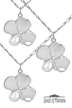 "Perfect for St. Patricks Day! Or anytime you need a little luck :)  Handcrafted four leaf clover necklace in fine silver (.999) with 18"" sterling silver chain. Each clover leaf is approximately 1 inch long by 1 inch wide and is signed on the back by the artist. #irishluck #fourleafclover #silverjewelry #handmadejewelry #jewelofhavana"