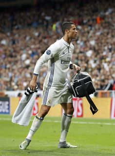 Cristiano Ronaldo as a medic during the UEFA Champions League group F match between Real Madrid and Sporting on September 14, 2016 at the Santiago Bernabéu stadium in Madrid, Spain.