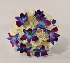 Blue Amy Orchid and ivory Rose Bridal Bouquet