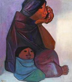 Abstract Faces, Abstract Art, Eduardo Kingman, Ecuador, San Francisco Art, Female Portrait, Woman Portrait, Mother And Child, Native American Art