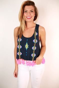 Fringe Forward Tank in Navy – Impressions Online Women's Clothing Boutique
