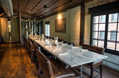 the Porch room set for a private dinner at Virtue Feed & Grain