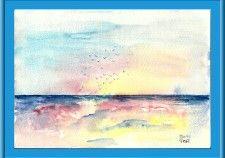 Envol au coucher de soleil. aquarelle à vendre , sans cadre,40e