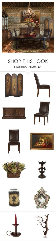 """""""Antique dining"""" by lynxe ❤ liked on Polyvore featuring interior, interiors, interior design, home, home decor, interior decorating, Ethan Allen, Pulaski, Antler and Jay Strongwater"""
