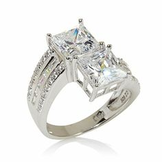4.50ct Absolute™ Square Radiant and Baguette Ring