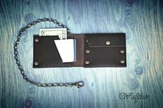 Leather Chain Wallet, Minimal Leather Wallet, Card Wallet for Men, Sleeve Wallet PERSONALIZED, Gift Ideas for Him by wallther on Etsy https://www.etsy.com/sg-en/listing/246538291/leather-chain-wallet-minimal-leather