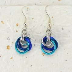 Blue Purple Mix Petite Tea Rose Chainmaille Earrings by DaisyKreates