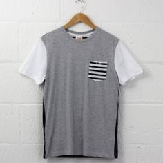 Lacoste L!VE Colour Block T-Shirt (Light Grey) #lacoste #lacostelive #tshirt #menswear #newentry