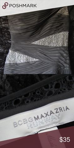 BCBG Max Azria Hi-low black lace & chiffon dress BCBG Max Azria Runway Dusk Draped Cocktail Dress, Tjn61221/1451a. This chiffon drapes this dress w/ its lace fabric & details, this dress is appropriately labeled BCBG Runway! Gently worn (on a red carpet of course), size 8 BCBGMaxAzria Dresses High Low