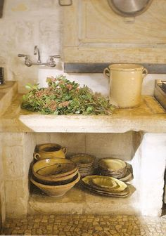 Décor de Provence: French Home - This is a shallow sink once used for making goat cheese in a monastery near Avignon.