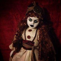 Bastet2329 OOAK Creepy Gypsy Doll with Bright Blue Eyes